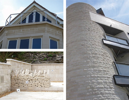 Building walls and Stone cladding with Portland stone