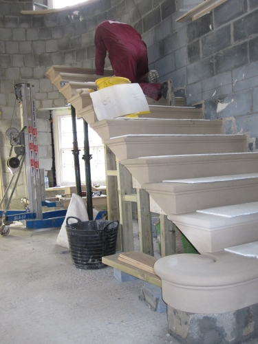 installing the stone steps